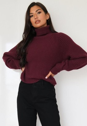 Missguided Red Tuck Sleeve Turtle Neck Sweater