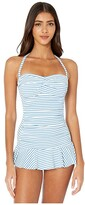 Lauren Ralph Lauren Bengal Stripe Twist Front Shirred Underwire Skirted One-Piece Swimsuit (Blue/White) Women's Swimsuits One Piece