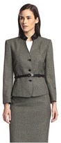Tahari by Arthur S. Levine Faux Leather Collar Belted Jacket.