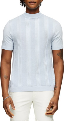 Topman Mock Neck Short Sleeve Sweater