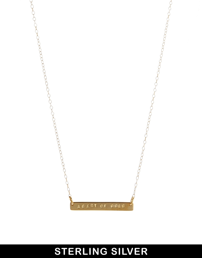 Asos & Wear That There Sterling Silver Gold Plated 'Heart of Gold' Bar Necklace - Gold