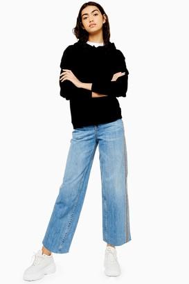 Topshop Womens Mid Blue Side Stripe Crop Jeans - Mid Stone