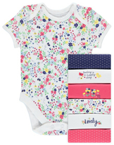 George 7 Pack Happy Day Short Sleeve Bodysuits