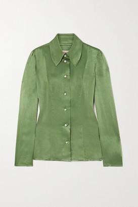 ALEXACHUNG Hammered-satin Shirt - Green