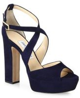 Jimmy Choo Suede Crisscross Platform Sandals