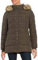 Larry Levine Faux Fur Trimmed Hooded Mid Length Puffer Coat