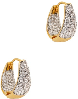 Fallon Pave Crystal-embellished Gold-plated Hoop Earrings