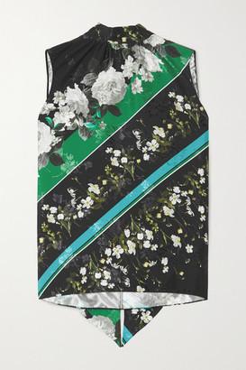 Erdem Koren Tie-neck Printed Floral-jacquard Top
