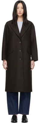 Harris Wharf London Brown Pressed Wool Oversized Great Coat