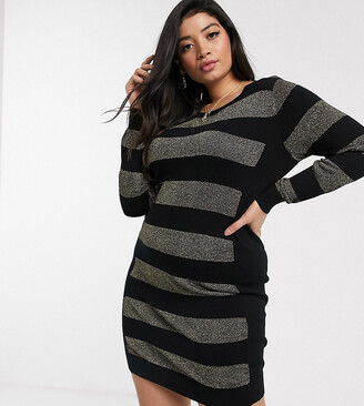 Simply Be stripe jumper dress in black and gold-Multi