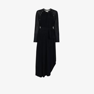 Chloé Button Detail Asymmetric Silk Maxi Dress