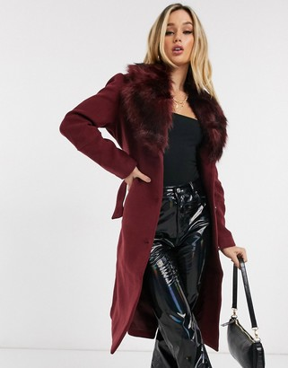Ivyrevel coat with faux fur collar in burgundy