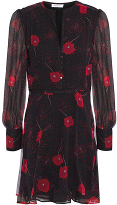 Equipment Danette Gathered Floral-print Silk-chiffon Mini Dress