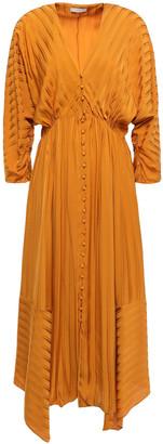 Joie Asymmetric Satin-jacquard Midi Dress