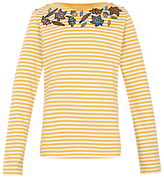 Fat Face Girls' Leaf Striped T-Shirt