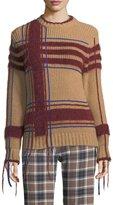 Tory Burch Eden Fuzzy Yarn-Trim Plaid Sweater