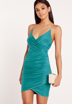 Missguided Chain Strap Ruched Bodycon Dress Teal