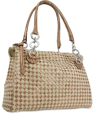 Fontanelli Brown Leather and Canvas Woven Large Satchel Bag