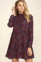 BB Dakota Triston Burgundy Paisley Print Dress