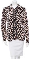 Veronica Beard Leopard Print Mesh-Trimmed Top