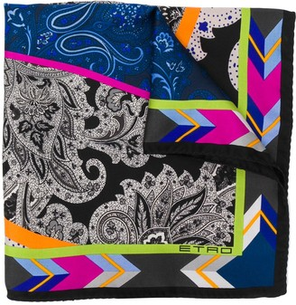 Etro Patchwork-Print Silk Pocket Square