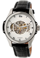 Reign Silver Constantin Semi-Skeleton Leather-Strap Automatic Watch