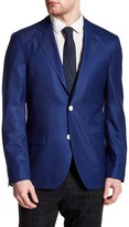Ike Behar Blue Sharkskin Two Button Notch Lapel Wool Blazer