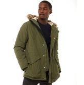 Farah Mens Beattie Fur Trim Hooded Parka Vintage Green