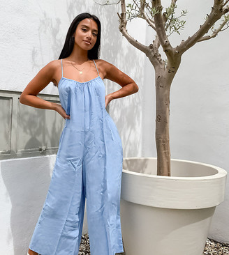 New Look Petite wide leg jumpsuit in mid blue