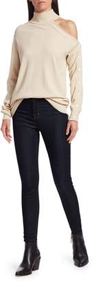 Bailey 44 Kitty Open Shoulder Wool & Cashmere-Blend Turtleneck Sweater