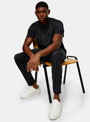 Topman Black And White Stripe Joggers