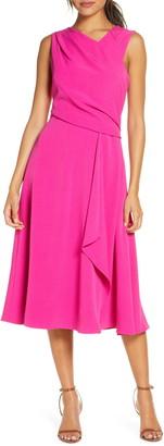 Donna Ricco Asymmetrical Sleeveless Crepe Midi Dress