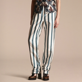 Burberry Panama Stripe Cotton Silk Pyjama-style Trousers