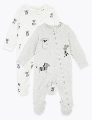 Marks and Spencer 2 Pack Cotton Animal Sleepsuits (7lbs-12 Mths)