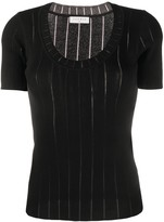 Sandro Paris ribbed knit scooped neck top