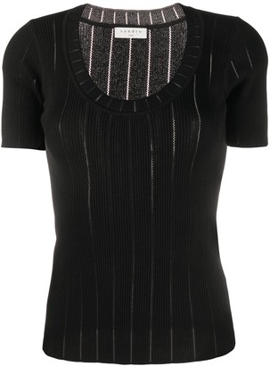 Sandro Ribbed Knit Scooped Neck Top