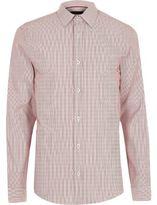 River Island MensRed formal stripe slim fit shirt