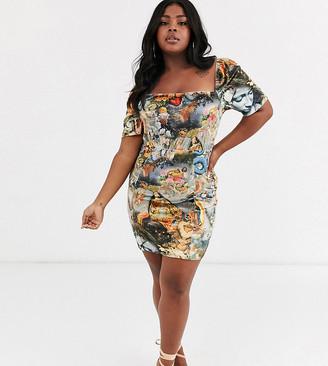 New Girl Order Curve milk maid bodycon dress in renaissance print-Multi