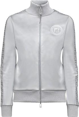 Fendi Prints On metallic zipped sweatshirt
