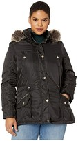 YMI Jeanswear Snobbish Snobbish Plus Size Faux Fur Lined Parka with Faux Fur Trim Hood (Black) Women's Clothing