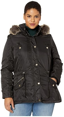 YMI Jeanswear Snobbish Plus Size Faux Fur Lined Parka with Faux Fur Trim Hood (Black) Women's Clothing