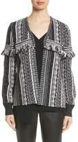 St. John Fringe Vertical Ombre Stripe Tweed Knit Jacket