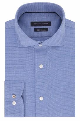 Tommy Hilfiger Men's Non Iron Slim Fit Stripe Spread Collar Dress Shirt