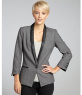 grey and black 'Heather' faux leather accented blazer