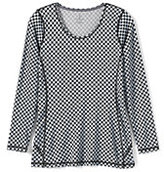 Classic Women's Tall Active Long Sleeve Tunic Top-Black Check Board