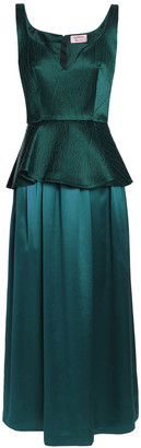 Lanvin Cloque-paneled Silk-satin Peplum Gown