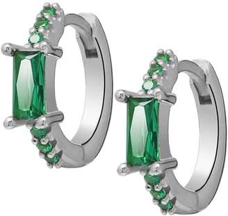 GABIRIELLE JEWELRY I Heart You Sterling Silver Cubic Zirconia Huggie Earrings