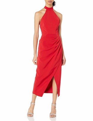 C/Meo Women's Caliber Halter Drape Front Sheath Midi Dress