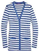 Ralph Lauren Striped Silk V-Neck Cardigan Cream/French Blue Xs