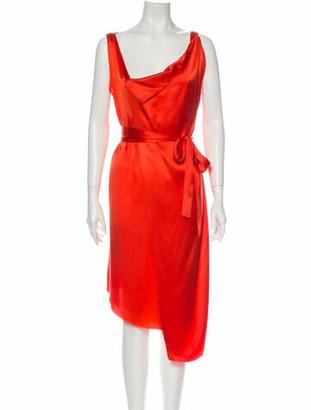 Carlos Miele Silk Knee-Length Dress Orange